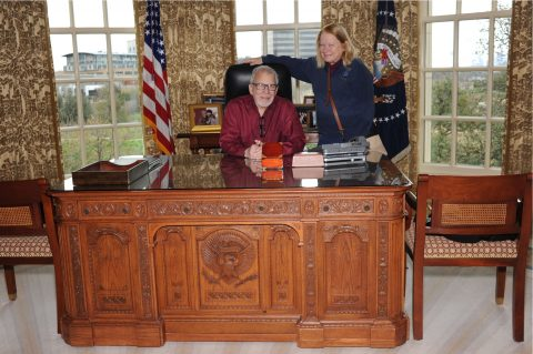 RG and JB at Bush Library Oval Office